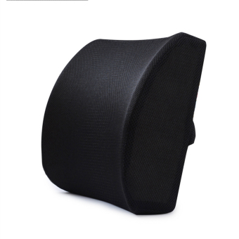 Memory Foam Lumbar Support Cushion Lower Back Pain Relief Orthopedic Posture Pillow (Black) - intl