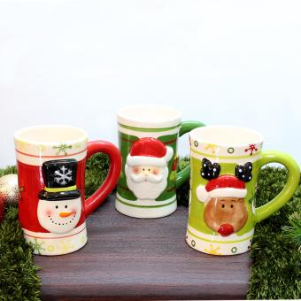 Merry & Bright Collectible Christmas Mugs Set of 3