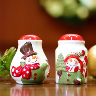Merry & Bright Collectible Salt & Pepper Canister Set of 2