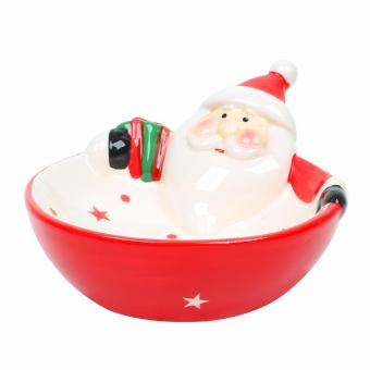 Merry & Bright Collectible Santa Christmas Bowl (White/Red)