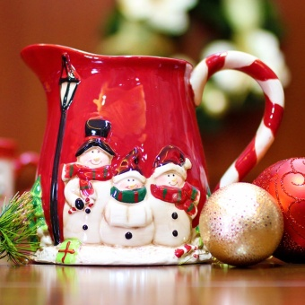 Merry & Bright Collectible Snowman Family Christmas Pitcher