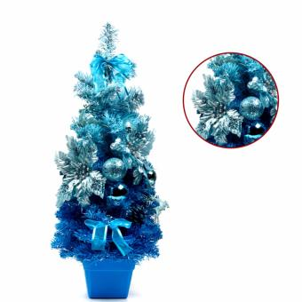 Merry & Bright Mini Christmas Tree Pot with Christmas Accessories Ornaments (Regent Blue)