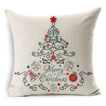 Merry Christmas Pillow Cover Cotton Linen Cushion Case - picture 2