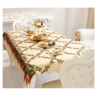 Merry Christmas Rectangular Printed Fabric Cloth Tablecloth 150*180cm C - intl