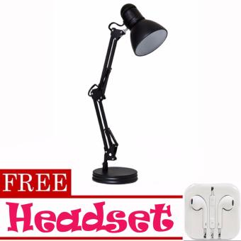 Metal Adjustable Swivel Arm Work Desk Lamp Table Lamp (Black) WithBowl Shade with FREE Headset (White)