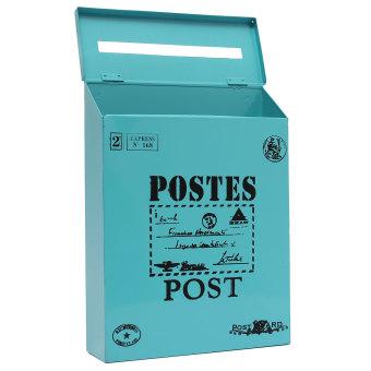 Metal Tin Locking Waterproof Post Card Mailbox Vintage Wall Hanging Mail Box New Blue - 3