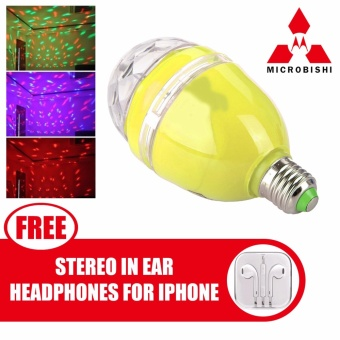 Microbishi 3W E27 RGB LED DJ Light Bulb Rotating Lamp Disco LightMD-268 (Yellow) with free Stereo In-Ear Headphone (Color May Vary)