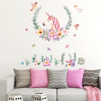 Mimosifolia Unicorn flowers Wall Sticker Decal Wallpaper PVC Mural Art House Decoration Home Picture Wall Paper for Adult Kids - intl