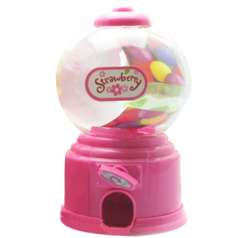 Mini Candy Gumball Vending Machine Saving Box Coin Bank Pink