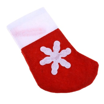 Mini Christmas Tree Stocking Decoration Dinnerware Holder (Red With White) - intl - 3