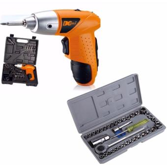 Mini Portable Electric Drill Cordless Screwdriver 45pcs TOOLs (Orange) with Aiwa Combination Socket Wrench 40-piece Set