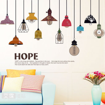 Minimalist multi-color wall stickers living room hanging lamp Home Décor Wall Stickers Decals