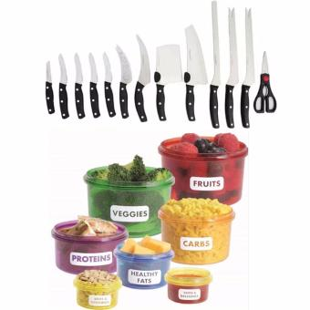 Miracle Blade World Class 13-piece Knife Set With 7 Pcs/set PerfectPortions Portable Lunch Box Kitchen Dining
