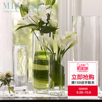 Miz transparent flower arrangement cylindrical-shaped lucky bamboo glass vase flower holder