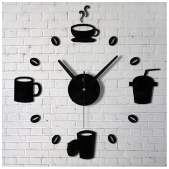 Modern 3D Home Decor DIY Cup Wall Sticker Clock Black - intl
