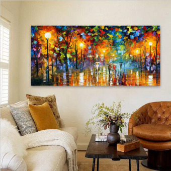 Modern Abstract Oil Painting Unframed Wall Picture For Living RoomBedroom Canvas Night Rain Umbrella Scenery Painting Price Philippines