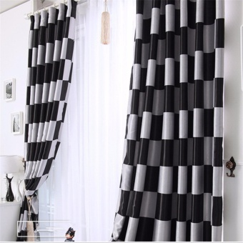 Modern Black Plaid Blackout Window Curtains for Living room and Bedroom Full Shading Door Curtains Drapes