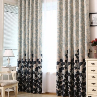 Modern Blackout Window Curtains for Living room Bedroom LeafPrinted Window Curtain and Drape - intl