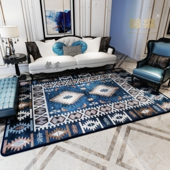 Modern country fabric blue American living room rug