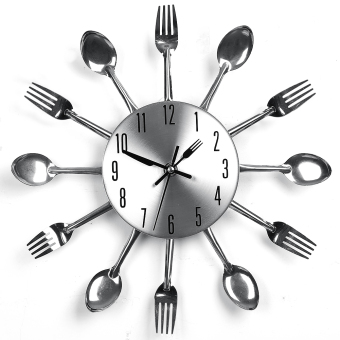 Modern Design Sliver Cutlery Kitchen Utensil Wall Clock Spoon ForkClock New