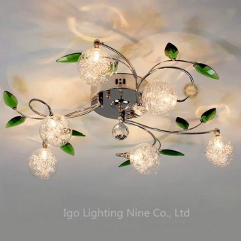 Modern Green leaves Crystal Ball Ceiling Light Aluminium Wire Ceiling Lamp for Study Bedroom Living Room Dining Room - intl
