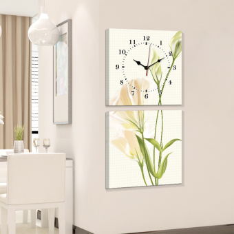 Modern Living Room linked frameless painting wall clock watch