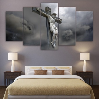 Modern Living Room Wall Pictures Unframed 5 Panel Jesus StatueCross Canvas Art Picture Print Poster Painting For Home decor -intl