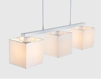 Modern Minimalist Three - Head Fabric Lamp Chandelier Bedroom StudyLamp Restaurant Chandelier white - intl - 2