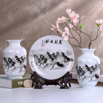 Modern small vase flower arrangement is ceramic porcelain