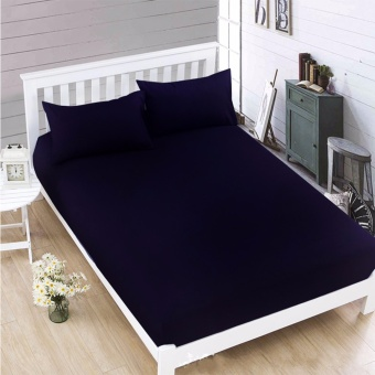 MODERN SPACE High Quality Bedsheet Double Size With FREE Two PillowCases (Navy Blue)