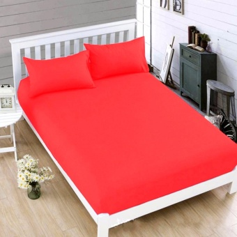MODERN SPACE High Quality Bedsheet Double Size With FREE Two PillowCases (Red) Price Philippines
