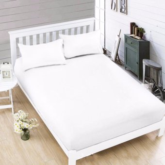 MODERN SPACE High Quality Bedsheet Double Size With FREE Two PillowCases (White) Price Philippines