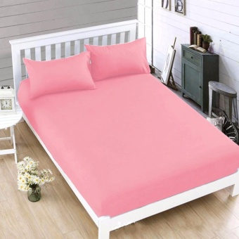 MODERN SPACE High Quality Bedsheet Single Size With FREE Two Pillow Cases (Pink) Price Philippines