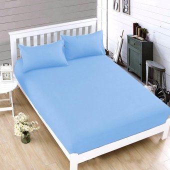 MODERN SPACE High Quality Bedsheet Single Size With FREE Two PillowCases (Light Blue) Price Philippines