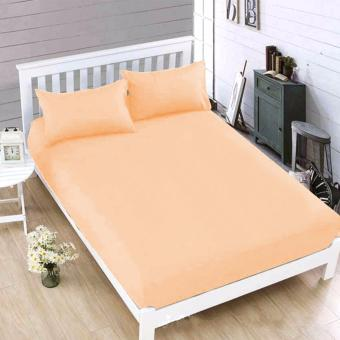 MODERN SPACE High Quality Bedsheet Single Size With FREE Two PillowCases (Peach) Price Philippines