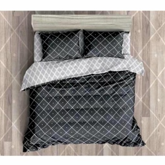 MODERN SPACE High Quality Fitted Bedsheet Double Size With FREE Two Pillow Cases Double Diamond Printed Design