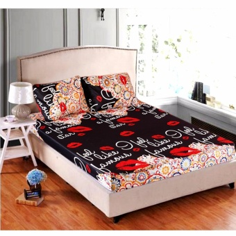 MODERN SPACE High Quality Fitted Bedsheet Double Size With FREE TwoPillow Cases Famous Printed Design Price Philippines