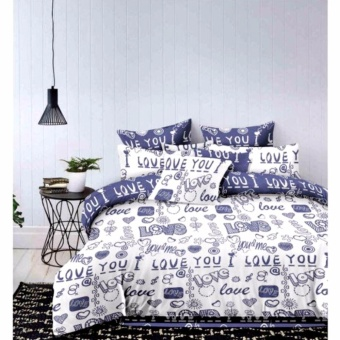 MODERN SPACE High Quality Fitted Bedsheet Double Size With FREE TwoPillow Cases I Love You Printed Design(Blue/White) Price Philippines