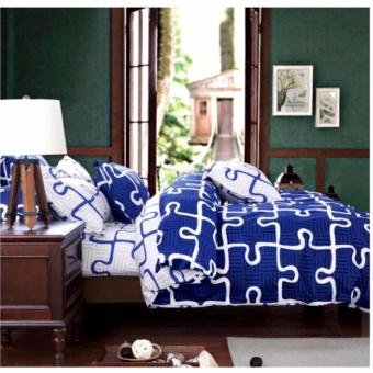MODERN SPACE High Quality Fitted Bedsheet Queen Size With FREE Two Pillow Cases Blue Puzzle Printed Design