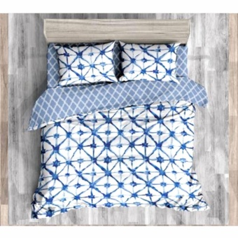 MODERN SPACE High Quality Fitted Bedsheet Queen Size With FREE Two Pillow Cases Connecting Stars Printed Design