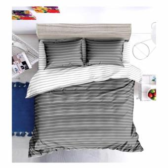 MODERN SPACE High Quality Fitted Bedsheet Queen Size With FREE Two Pillow Cases Dark Grey Stripes Printed Design