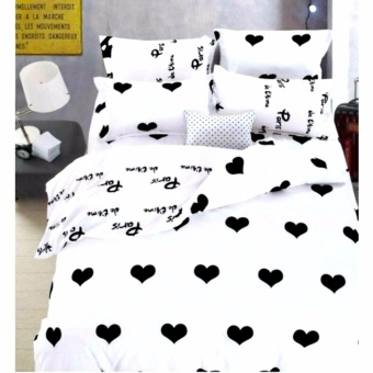 MODERN SPACE High Quality Fitted Bedsheet Queen Size With FREE Two Pillow Cases Hearts Printed Design