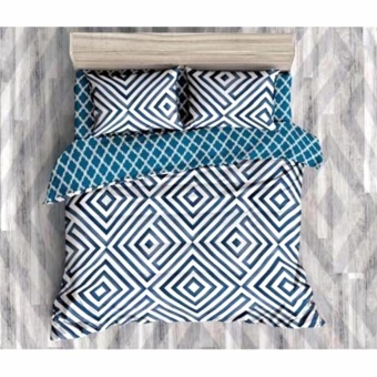 MODERN SPACE High Quality Fitted Bedsheet Queen Size With FREE Two Pillow Cases Illusion Blue/White Printed Design