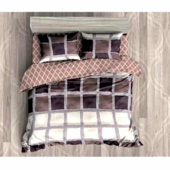 MODERN SPACE High Quality Fitted Bedsheet Queen Size With FREE Two Pillow Cases Square Pattern Printed Design