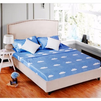 MODERN SPACE High Quality Fitted Bedsheet Queen Size With FREE TwoPillow Cases Clouds Blue Printed Design Price Philippines