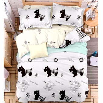 MODERN SPACE High Quality Fitted Bedsheet Queen Size With FREE TwoPillow Cases Dog Printed Design Price Philippines