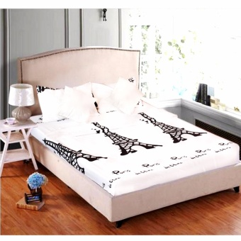 MODERN SPACE High Quality Fitted Bedsheet Queen Size With FREE TwoPillow Cases Paris Printed Design Price Philippines
