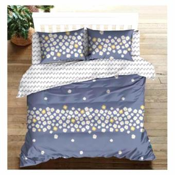 MODERN SPACE High Quality Fitted Bedsheet Single Size With FREE Two Pillow Cases Daisy Blue Printed Design