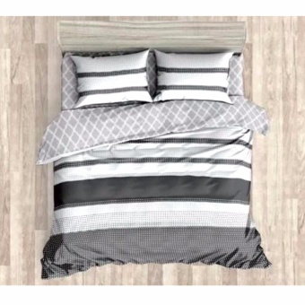 MODERN SPACE High Quality Fitted Bedsheet Single Size With FREE Two Pillow Cases Parallel Printed Design