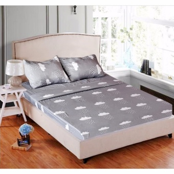 MODERN SPACE High Quality Fitted Bedsheet Single Size With FREE TwoPillow Cases Clouds Gray Printed Design Price Philippines